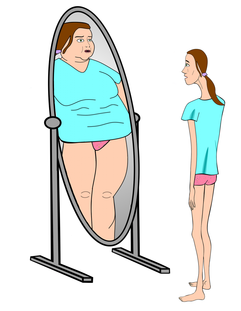 Slim woman looking in a mirror and seeing larger person.